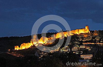 Medieval castle of Narikala at night