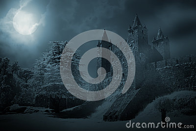 Medieval castle at night Stock Photo