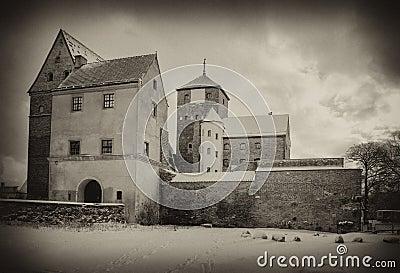 Medieval castle in sepia