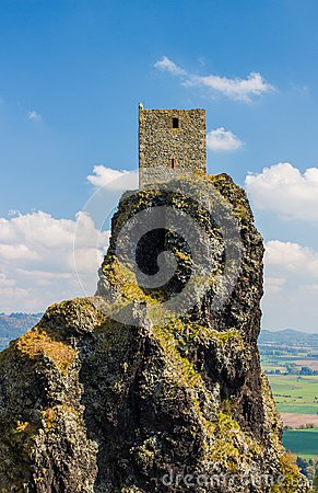 Free Medieval Castle Tower In The Top Of The Rocky Hillside Stock Photos - 101053563