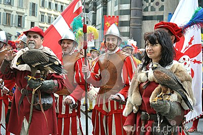 Medieval characters in a reenactment in Italy Editorial Image