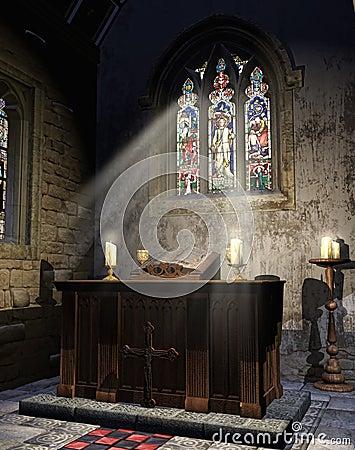 Medieval church altar
