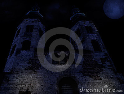 Medieval church on a moonlt night