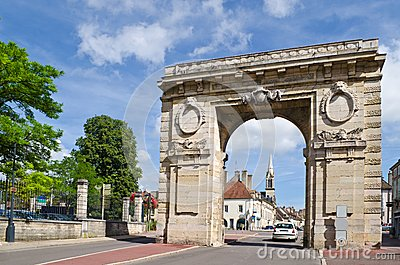 Medieval city gate, Beaune, France