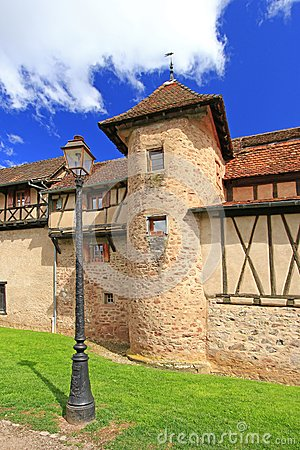 Medieval city walls of Riquewihr, Alsace, France