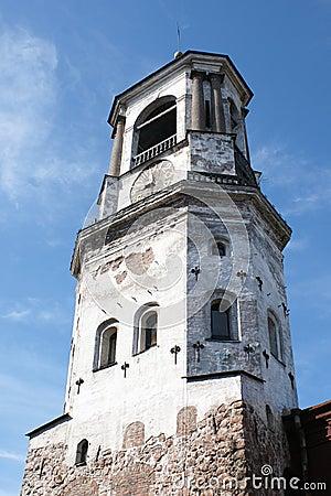 Medieval clock tower in Vyborg