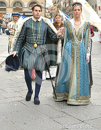 Medieval couple in a reenactment in Italy Editorial Stock Photo