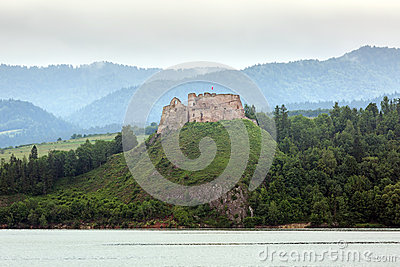 Medieval Czorsztyn castle at the lake