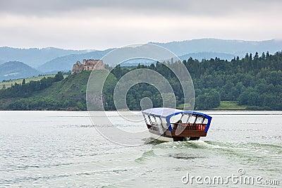 Medieval Czorsztyn castle at the lake