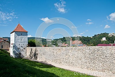 Medieval defence stone wall and tower