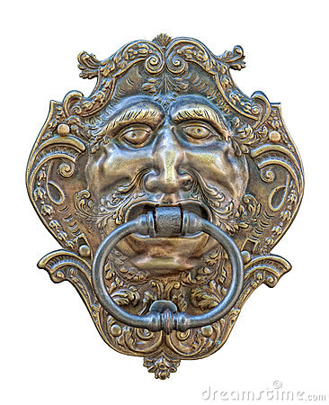 Medieval door knocker, bronze human head cutout