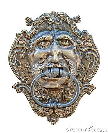 Medieval door knocker, bronze human head cutout