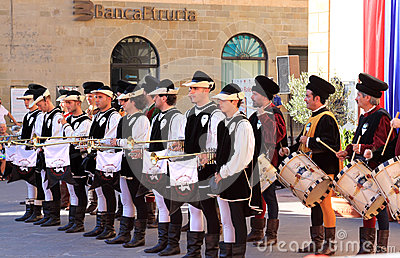 Medieval dressed musicians, Sansepolcro, Italy Editorial Photography