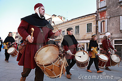 Medieval drummers band Editorial Stock Photo