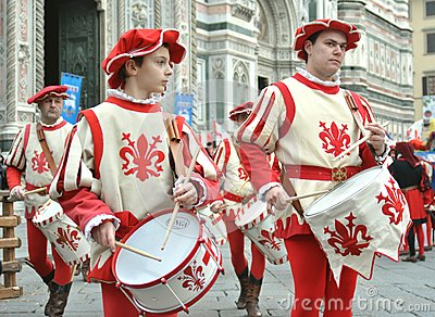 Medieval drummers in a reenactment in Italy Editorial Stock Photo