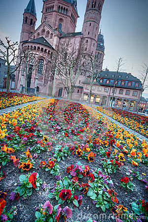 medieval european church with flowerbed outside stock photo image 51860177. Black Bedroom Furniture Sets. Home Design Ideas