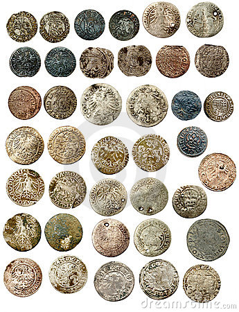 Medieval european coins of XVI c. Poland
