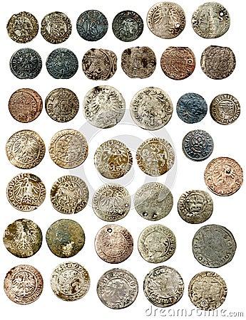 Medieval european coins of XVI c. Poland