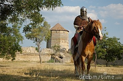 Medieval European knight in the castle