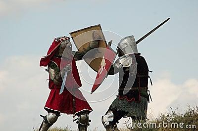 Medieval European knights fighting