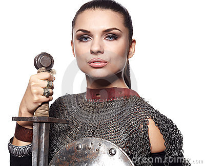 Medieval female knight in armour