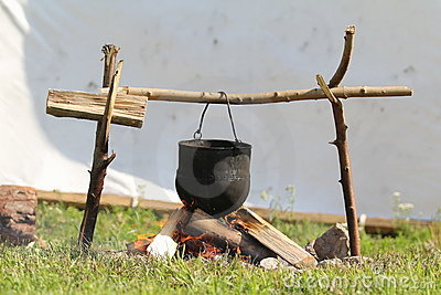 Medieval fire and pot