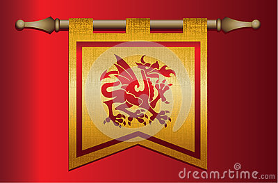 medieval flag with dragon emblem stock photo image 30405480