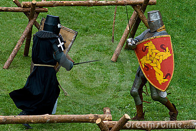 Medieval footed knights, fight