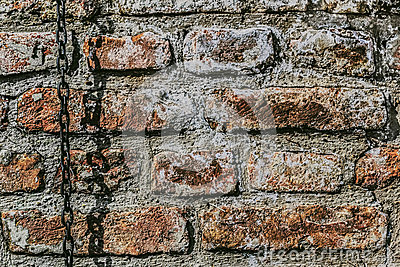 Medieval Fortress Antique Brick Wall With Chain
