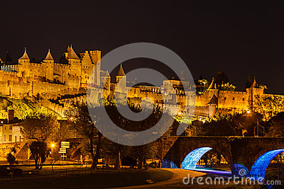 Medieval fortress in illuminated in background abo