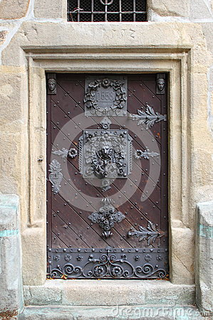 Medieval front door in Prague