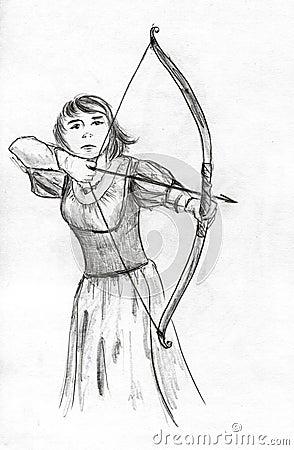 Medieval girl archer