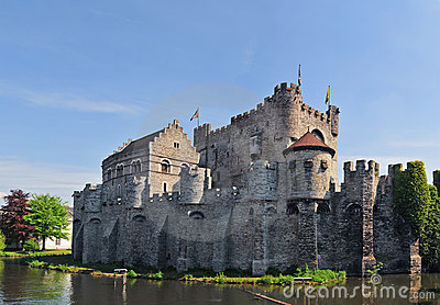 Medieval Gravensteen Castle In Gent