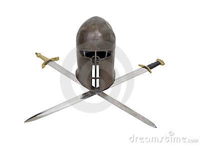 Medieval helm and crossed swords