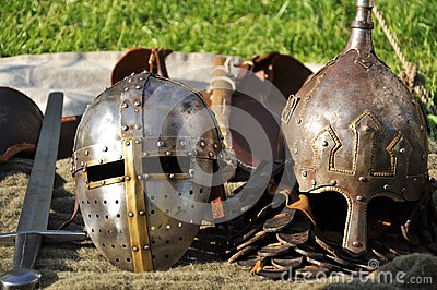 Medieval helmets and sword