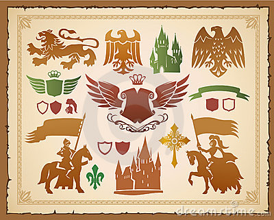 Medieval heraldic set