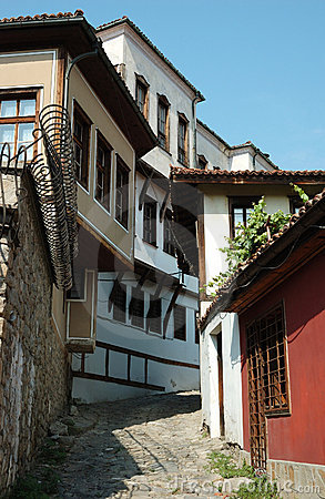 Medieval houses of old center in Plovdiv,Bulgaria