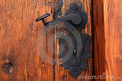 Medieval iron door handle