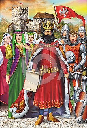 Free Medieval King And Retinue Royalty Free Stock Photos - 36929388
