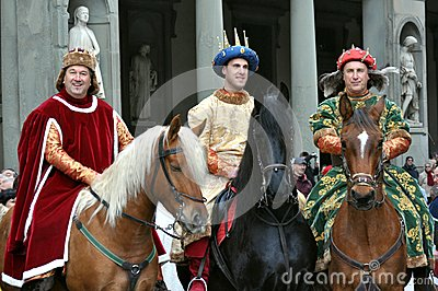 Medieval kings in a reenactment in Italy Editorial Image