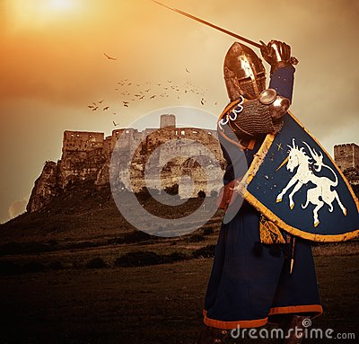 Free Medieval Knight Against Castle Royalty Free Stock Image - 44056796