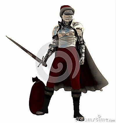 Medieval Knight as Christmas Santa