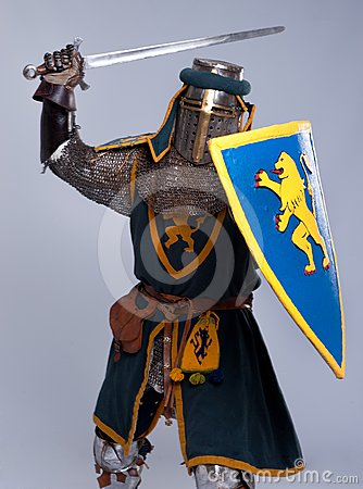 Medieval knight in attack position
