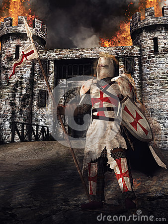 Medieval knight and castle Stock Photo