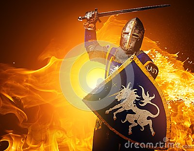 Medieval knight on fire background