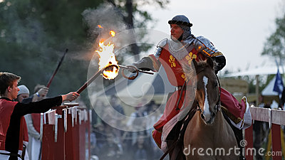 Medieval knight on the horse Editorial Stock Photo