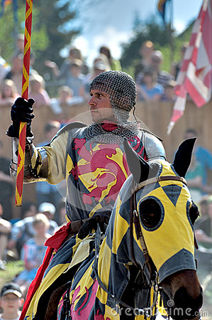 Medieval knight on horseback