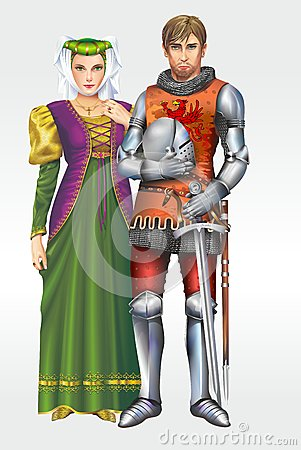 Medieval Knight with Wife Stock Photo