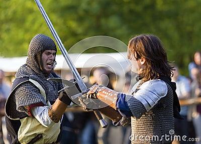 Medieval knights fencing Editorial Photo