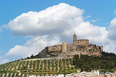 Medieval La Mota castle on the hill in Andalusia